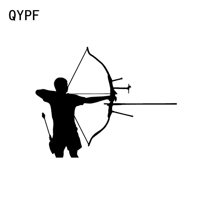 QYPF 11.4*9CM Fashion Archer Bow Hunting Decor Car Modelling Sticker Vinyl Bumper Window Decals C16-1627