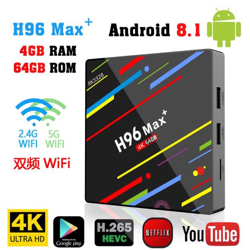 H96 MAX Plus smart TV Box Android 8.14 GB RAM 64GB ROM Set Top Box RK3328 2.4G/5G Wifi 4K H.265 3GB 32GB Media Player pk H96 pro alfawise h96 pro tv box 3gb ram 64gb rom