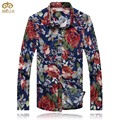 Miuk 2017 de gran tamaño de flores de algodón camisa masculina m ~ 5xl brand clothing slim fit camisa de los hombres de alta calidad floral camisa hawaiana