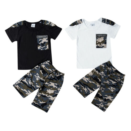 Kids Baby Boys Summer Camouflage T-Shirt Tops+Shorts Pants Clothes Outfit Set