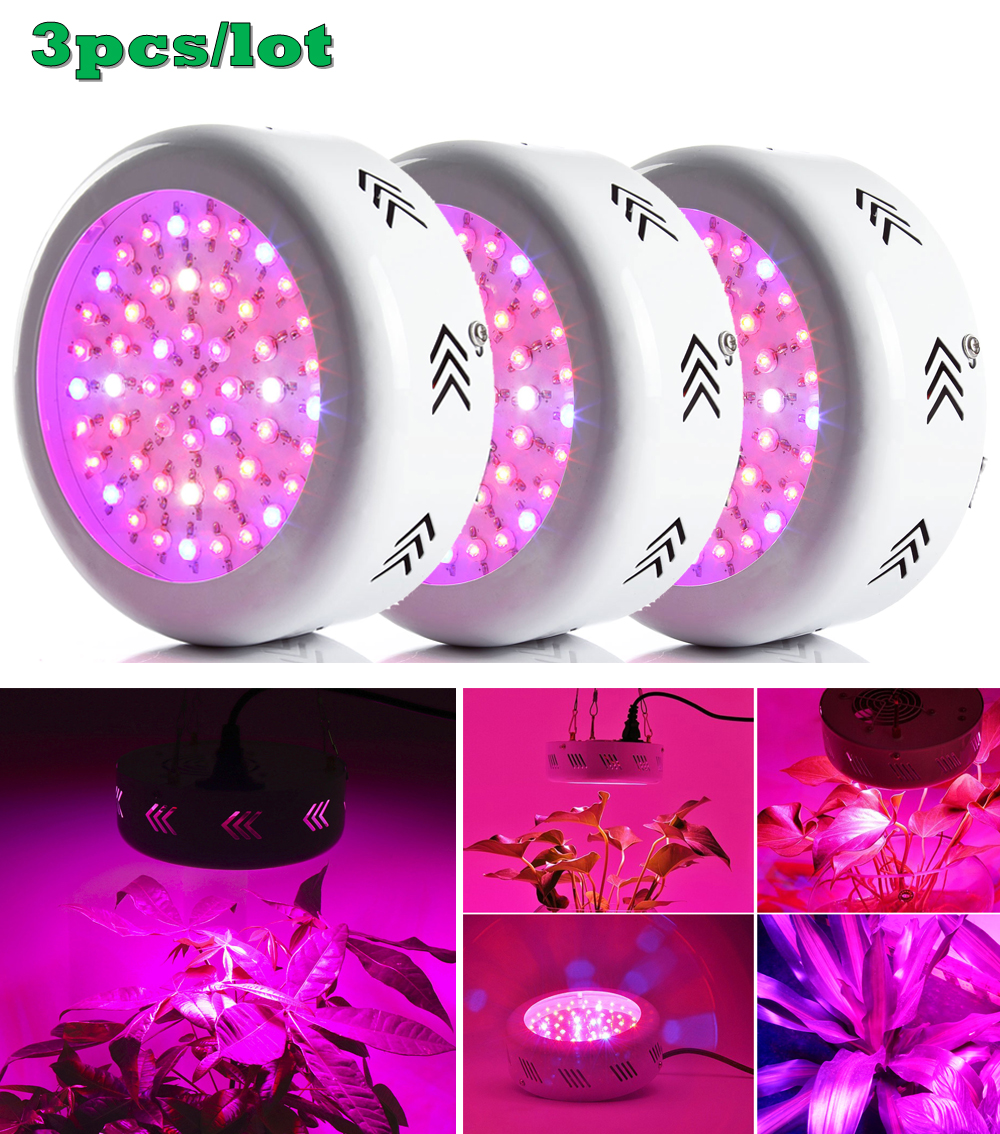 ФОТО 3pcs Newest UFO 150W Led Grow Light Full Spectrum 50X3W Led Chip Plant Growing Lamp for Flower Vegetables, Express Free Shipping