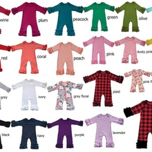 Twins sister Christmas Pajamas floral icing Ruffled romper Baby girls thanksgivi