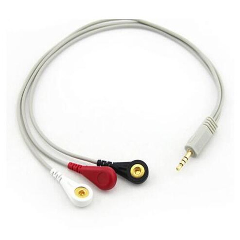 FREE SHIPPING ECG cable DC3.5 head a special headphone plug straight 3-lead wire button type for Holter Machine все цены
