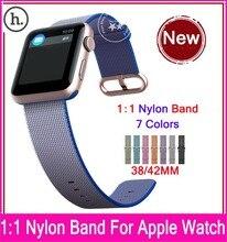 Nuevas versiones 1:1 tejido de nylon correa para apple watch 42mm 38mm con adaptadores de acero inoxidable original y 7 colores disponibles