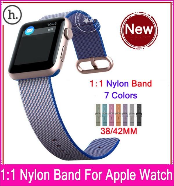 Novos lançamentos 1:1 tecido nylon pulseira para apple watch 42mm 38mm com adaptadores de aço inoxidável original e 7 cores disponíveis