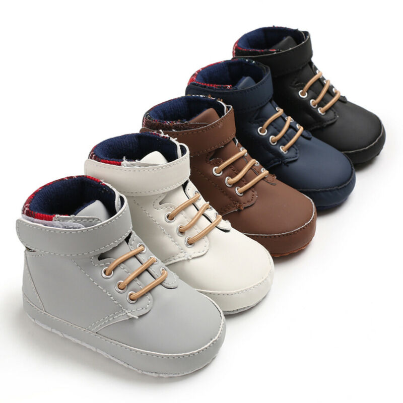 Fashion New Winter Toddler Girls Boys Boots Lace-up Crib Shoes PU Leather Plaid Newborn Baby Prewalker Soft Sole Sneakers