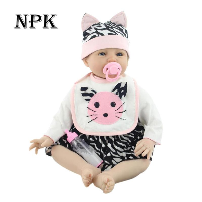 NPK Doll 55cm Baby Reborn Realistic BeBe Reborn Doll Baby Handmade Lifelike Full Body Silicone Doll Toy For Boys Girls Gift цена