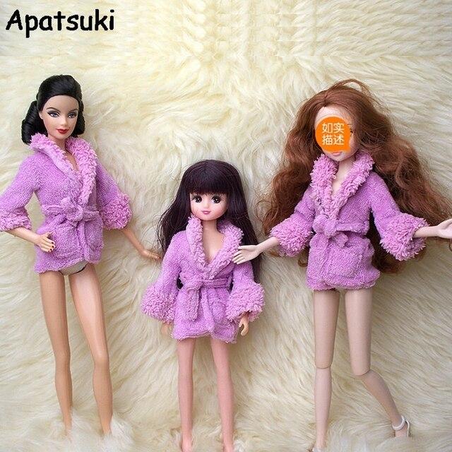 pop accessoires paars pluche badjas voor barbie badkamer winter pyjama slapen slijtage casual kleding voor barbie