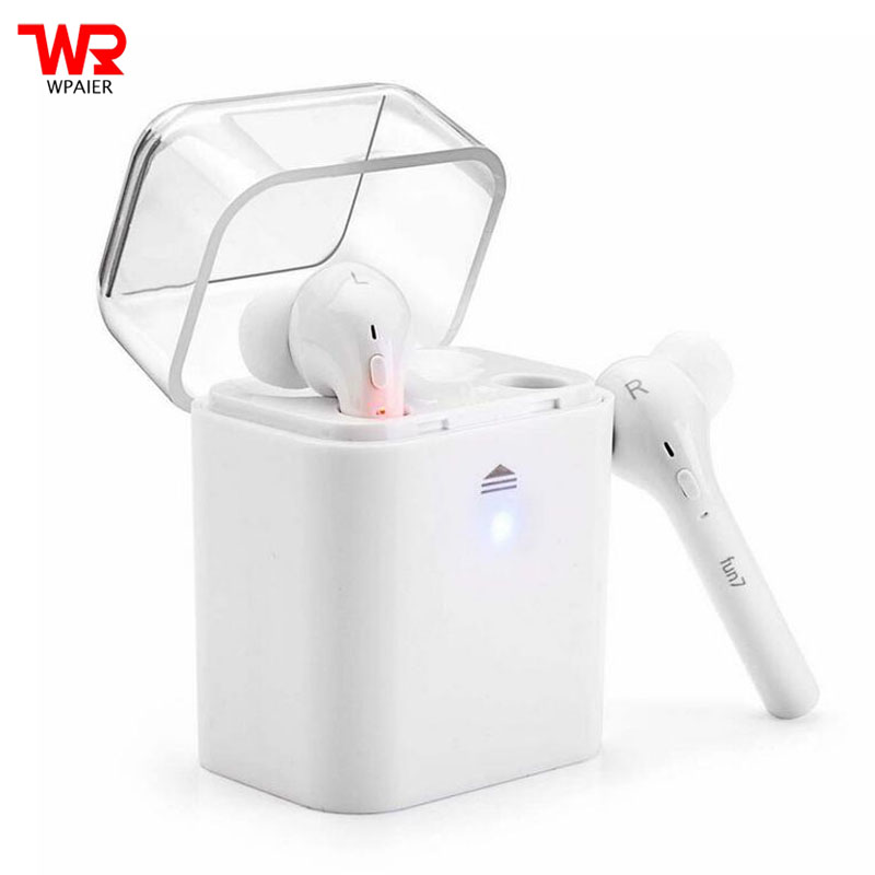 WPAIER TWS FUN 7 Wireless Bluetooth headphones HIFI Outdoor sports headsets Super endurance with charge box for iphone 7/Android
