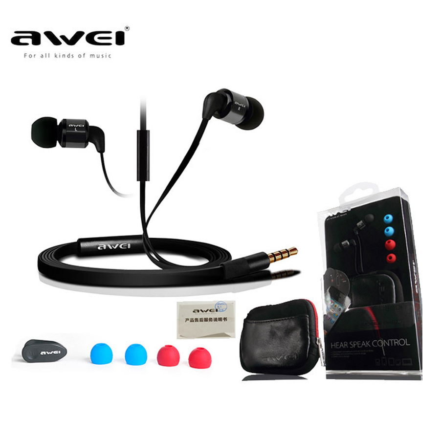 Awei ES600i Original Earphone In-Ear Super Bass Stereo Headphones with Microphone Headset Sport Running Headphones For Xiaomi jbl synchros reflect i in ear sport headphones for ios devices black