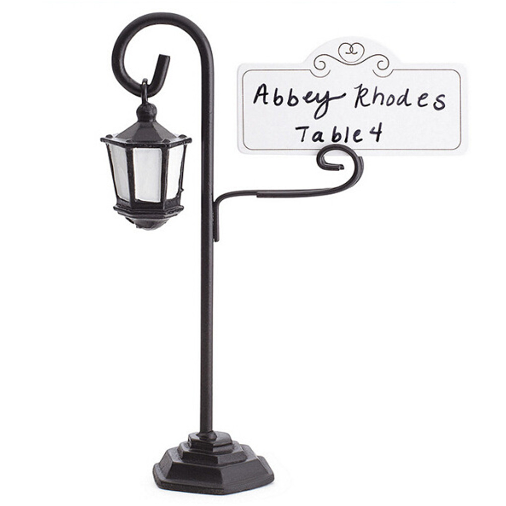Street Lamp Card Holder Table Number Photo Memo Clip Wedding Table Home Decorative Shelves(China)