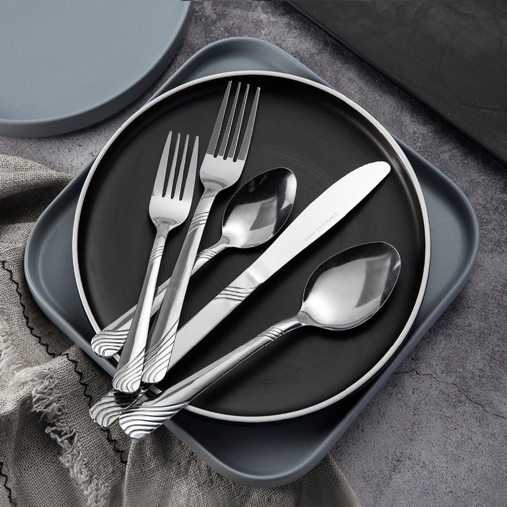 48 Pieces Dinnerware Set Cutlery Stainless Steel Western Tableware Traditional Classic Dinner Knife Fork Restaurant Dining