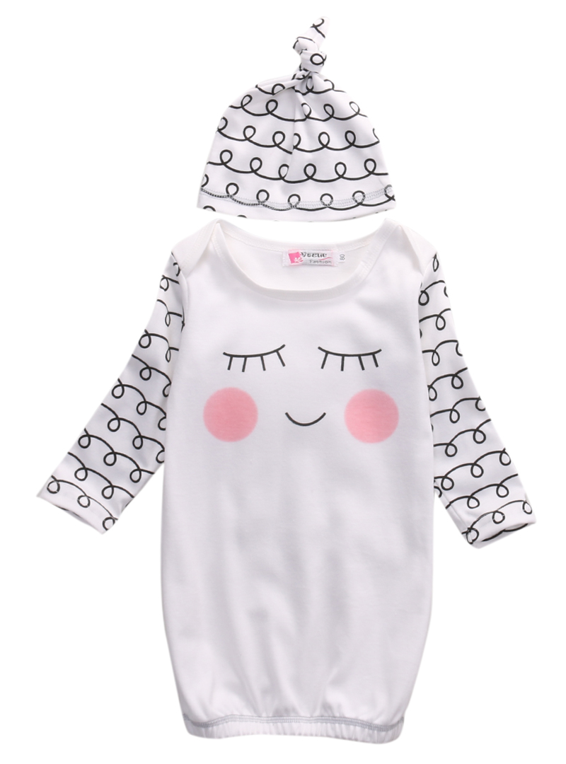 Hot Cute Sleepy Eyes+Rosy Cheeks Outfit Baby Gown Hat Infant Newborn ...