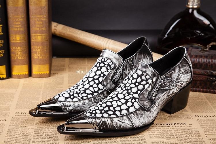 Balck bianco zapatos scarpe di coccodrillo per gli uomini mens alti talloni metallic oxford men dress scarpe di lusso di marca zapatillas hombre-in Scarpe da cerimonia da Scarpe su  Gruppo 2