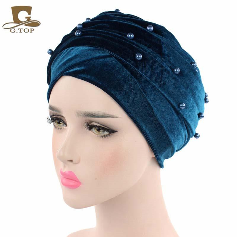 New luxury beaded pearled velvet turban long head scarf headwrap women muslim hijab Bandanas Hair Accessories 27