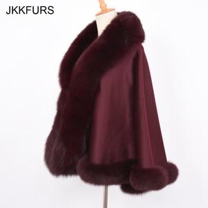 Image 5 - JKKFURS Womens Real Fur Poncho Genuine Fox Fur Collar Trim & Wool Cashmere Cape Fashion Style Winter Warm Coat S7358