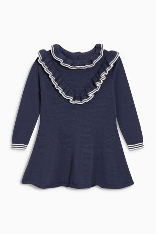 2017 New Baby Girls Navy Blue Sweater Dress Costume Children Warm Winter Princess Ruffles Knitted Dresses Toddler Girls Clothing t100 children sweater winter wool girl child cartoon thick knitted girls cardigan warm sweater long sleeve toddler cardigan