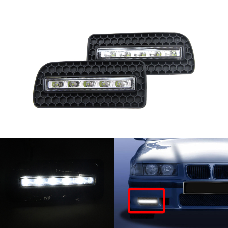 ABS aluminium cover Car LED Daytime Running Lights, High Power 12W led drl Waterproof daylight for bmw E36 M3 M Bumper 92-98 car specific led daytime running lights drl high brightness conversion case for 10 12 b m w x5 e71 freeshipping ggg