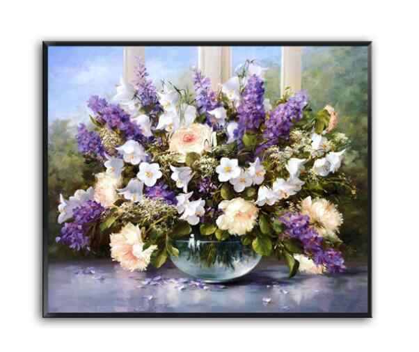 Needlework,DIY Cross stitch,Sets For Embroidery kits, lavender Flower chinese Patterns Oil Painting Cross-Stitch,Wall Home Decro