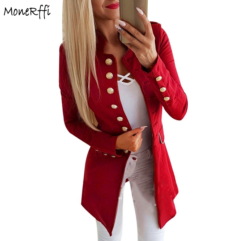 Blazer Schlussverkauf Monerffi Frauen Langarm Anzüge Jacke Einfarbig Einreiher Dünner Mantel Plus Größe Damen Büro Blazer Abrigo De Mujer Nachfrage üBer Dem Angebot