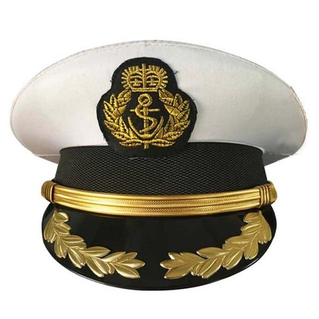 Sombreros de disfraz militar gorras de oficial de la Marina adultos hombres  blancos sombreros militares 1fbe7060fe6