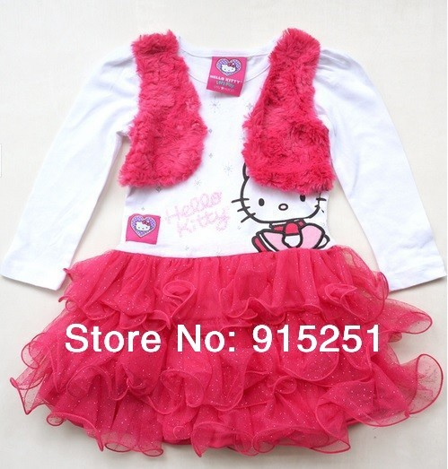 new arrival girl's false two piece tutu petti dresses, cute Hello Kitty  kids girl  tunic /dance /party dress 2-6x  high quality
