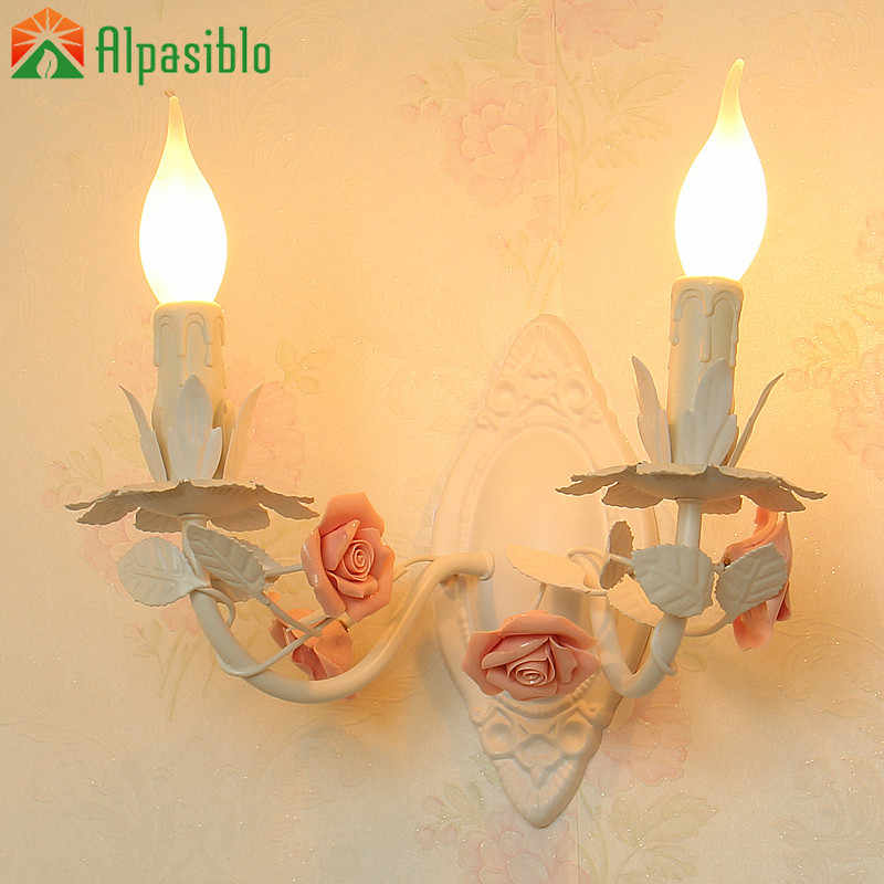 Rural Ceramics Pink Rose Wall Lamp Blue Rustic 2Heads Stair Lights Balcony LED Sconce Wall Lighting Warm Creative