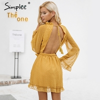 Simplee Lace Up Backless Mesh Dress Women Elegant Stringy Selvedge Sash Mini Dress 2017 Fashion Long
