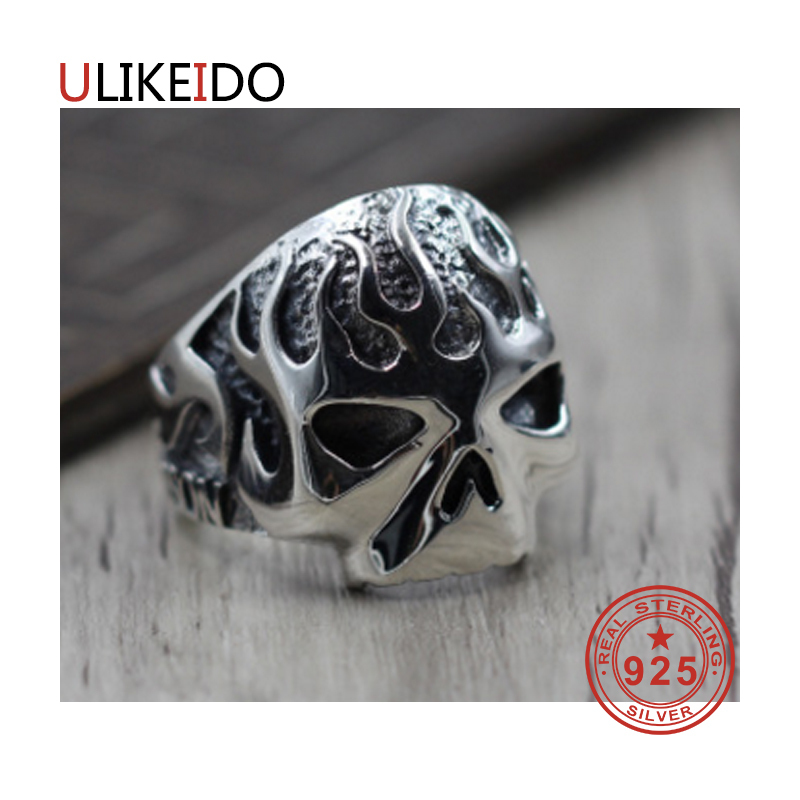100% Pure 925 Sterling Silver Jewelry Skele Rings Adjust Vintage Mens Signet Ring For Women Special Christmas Gift 953