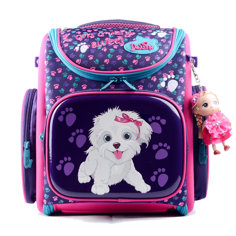 Delune Cartoon School Bags Backpack for Girls Boys Dog Car Pattern Children Orthopedic Backpacks Folded Mochila