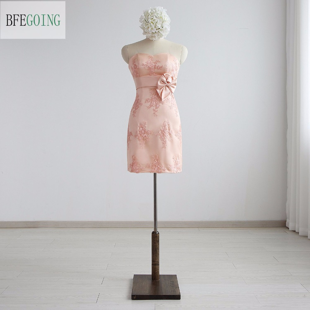 Lace Short Sweetheart Sheath Formal   Bridesmaid     Dress   Mini Sleeveless Real/Original Photos Custom made