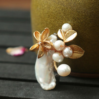 Handmade original exquisite small natural shaped pearl brooch pendant