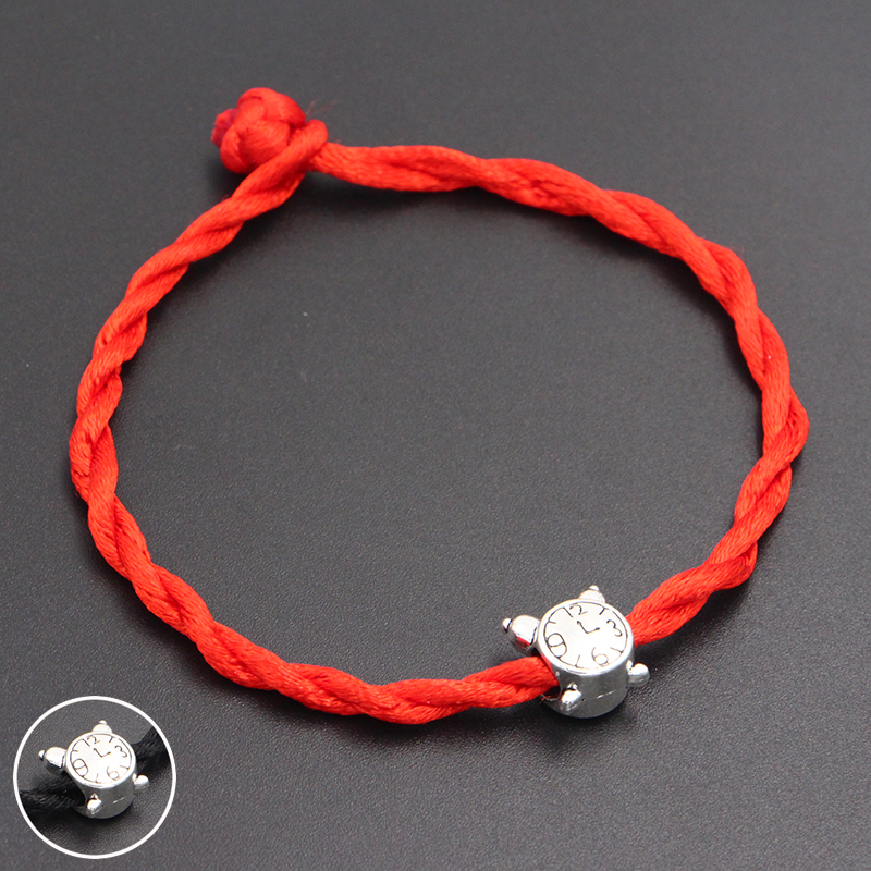2020 New Cute Alarm Clock Beads 4mm Red Thread String Bracelet Lucky Red Handmade Rope Charm Bracelet for Women Men Jewelry