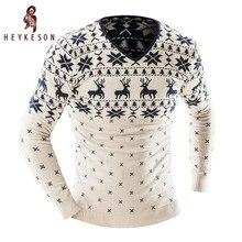 Heykeson 2017 Мужская мода животных печати свитер мужской досуг тонкий v-образным вырезом с длинными рукавами Однотонный свитер мужские xxl Ю.