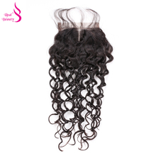 Real Beauty Brazilian Water Wave Lace Closure 10-18 inches Remy Human Hair Middle Part 4*4 Swiss Lace 130% Density Natural Color