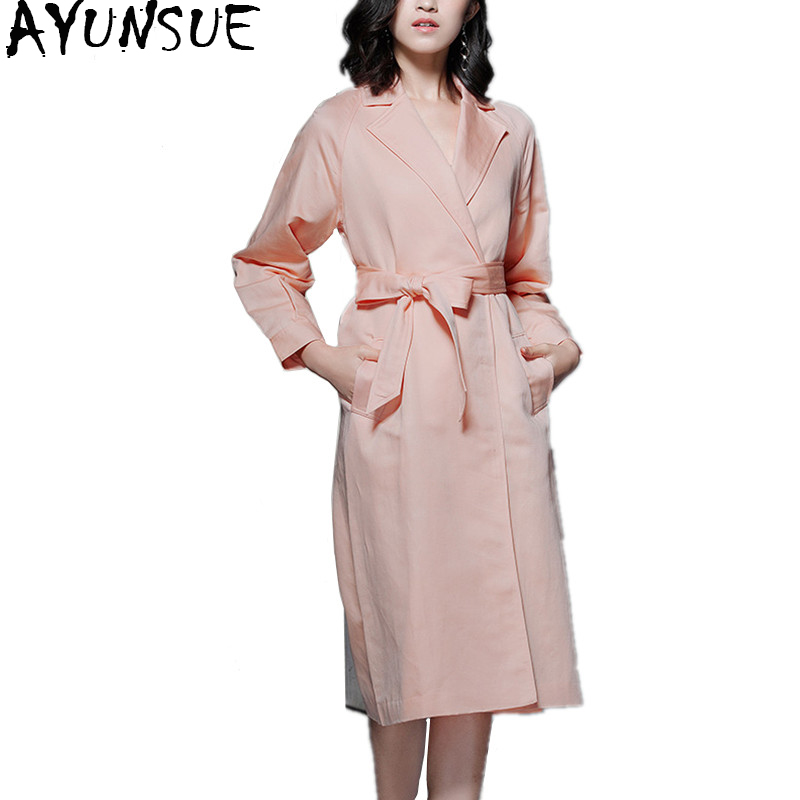 AYUNSUE 2018 Fashion Cotton Linen   Trench   Coat Female Spring Autumn Outerwear Long Pink Women Windbreaker With Belt roupas YQ1384