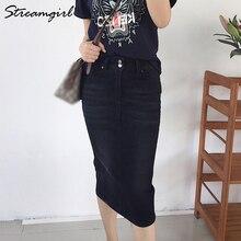 שחור ג ינס Midi חצאית קיץ נשים 2019 עיפרון חצאיות נשים ג ינס חצאית Midi גבוהה מותן חצאיות נשים נהיגה לראשונה חצאית Femme קיץ
