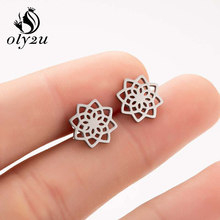 Oly2u Kecil Bunga Stud Anting-Anting untuk Wanita Tanaman Anting-Anting Stainless Steel Anting-Anting Femme Oorbellen Brinco Pernikahan Perhiasan Hadiah(China)