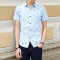 2016 Summer New Short Sleeve Mannen Overhemden Slim Print Chemise Manche Courte Homme
