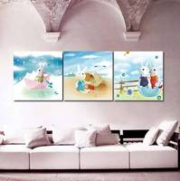 Decoration Kids Living Room 3 PCS Contemporary Canvas Wall Art Paintings Buy Carton Rabbit Wall Pictures For Children's Room
