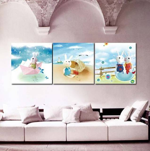 contemporary artwork living room showcase in on wall decoration kids 3 pcs canvas art paintings buy carton rabbit pictures for children s