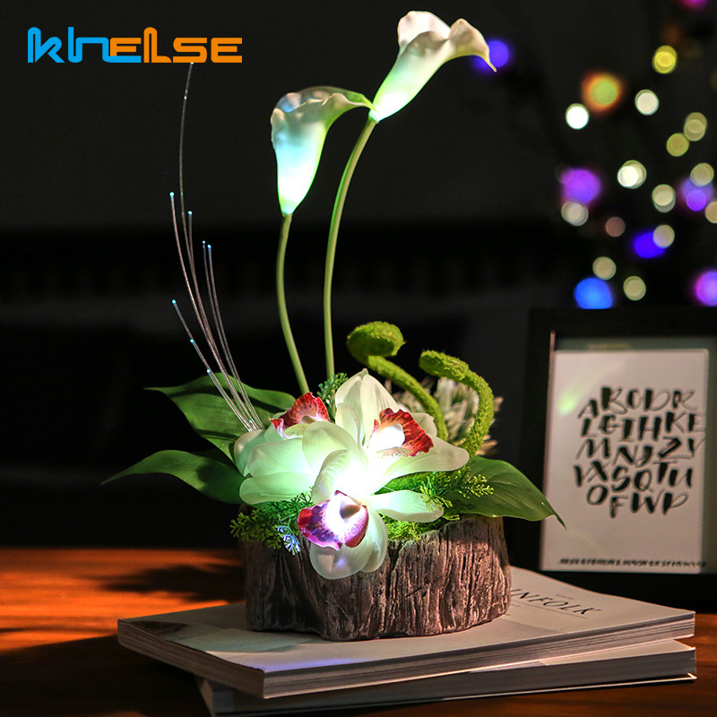 New LED Night Light LED Lighted Calla Lily Artificial USB Table Lamp Flower Arrangement Bedside Wedding Christmas Decor Lighting home table decor 1pcs artificial calla flower