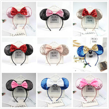 Beautiful Rose Gold Colorful hair Sequins Mickey Minnie Mouse Ears solid black headband boy birthday party celebration