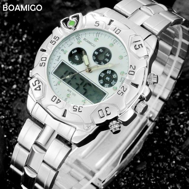 men sports watches dual display analog digital LED Electronic quartz watches BOAMIGO brand 2017 fashion steel gift wristwatches