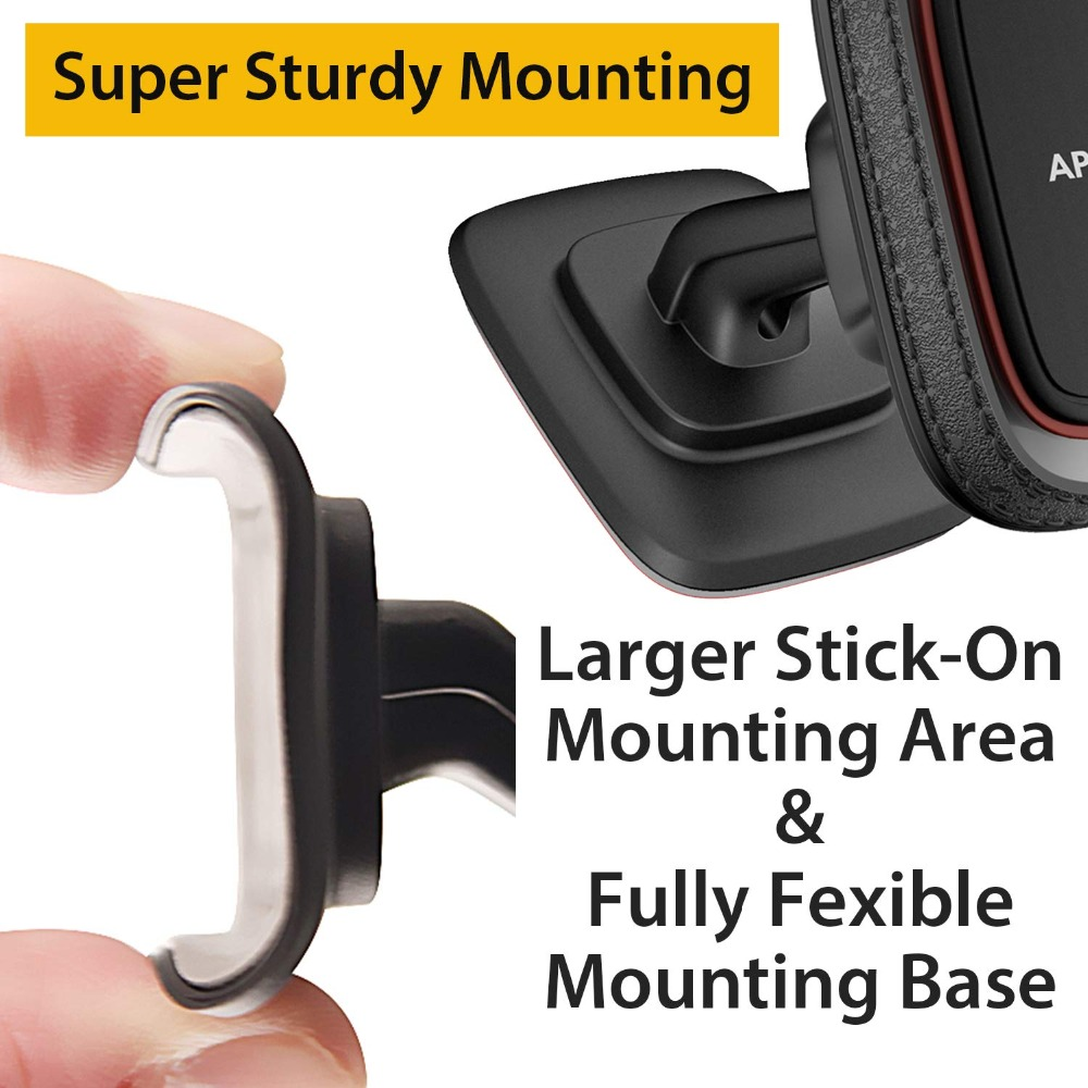 Hands Free Phone Mount Car with Strongest VHB Adhesive Mounting Base APPS2Car Sturdy Stick-on Universal Cell Phone Holder Car Built-in Amazing Powerful Magnets 2 Pack Magnetic Phone Car Mount