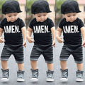 2016 Новая Мода 2 шт. Малышей Дети Baby Boy одежда Набор Черная Футболка + Короткие Полосатые Брюки Мальчиков Наряды устанавливает 2-6Y