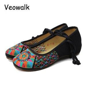 Image 2 - Veowalk bailarinas Vintage hechas a mano para mujer, zapatos informales con cordones, suela suave bordada