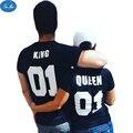 Mar mao 2017 Nueva Moda Casual Mujeres Camiseta Cartas King Queen 01 Unisex de Manga Corta Impresa camiseta de Las Mujeres Camiseta de Los Hombres Tops