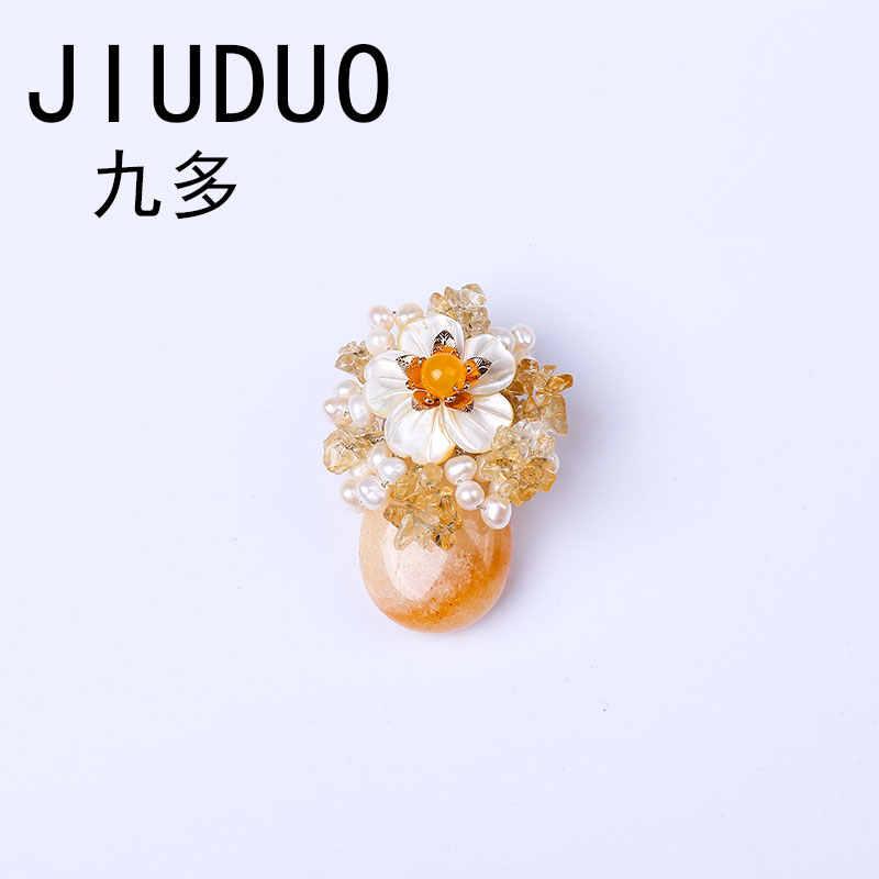 Jiuduo Gaya Modern Logam Antik Batu Alam Bros Pins Aksesoris Biru Manik-manik Vintage Bros Perhiasan Wanita Kristal