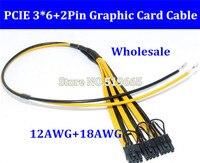 PCI Express pcie Videokaart Connector PC Supply GPU Molex 8pin naar 3 PCI-e 8 (6 2) pin Interne Kabel Power Splitter 12AWG + 18AWG